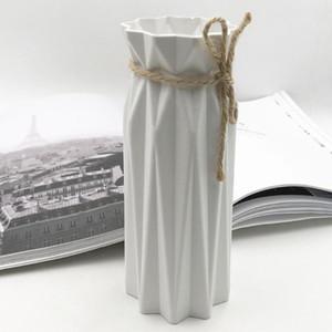 زهرية البلاستيك الزهرية زهرة سلة الأبيض تقليد الخزف الاصطناعي زهرة ديكور المنزل ترتيب الحاويات الديكور المنزلي