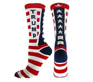 Chaussettes mi-mollet 2020 à rayures mi-mollet Chaussettes en coton homme et femme unisex président Donald Trump Happy Socks