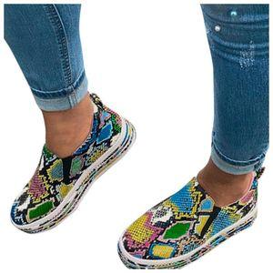 Le donne serpente scarpe di pelle di modo delle signore casuali della pelle Scarpe Mocassini romana Snakeskin slittamento mujer Mocassini romana zapatos