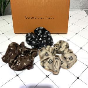 Anillos de pelo L Letters Bandas de lujo Impreso de goma grande de la cuerda delgado anillo principal de las mujeres Tela del tocado