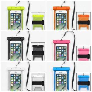 Noctilucent Diving Arm Bag Teléfono móvil Natación Sandy Beach Drift Paquete impermeable al aire libre Hombre Mujer PVC Divisa Fold 6 3snI1