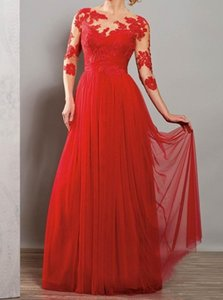 Classic A-Line Red Chiffon Beach Evening Dresses With 3 4 Sleeves Long Floor Formal Appliques Bridesmaid Prom Guests Dresses