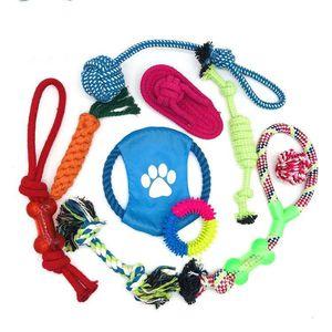 10PC Pet Kauçuk Ball Oyuncak Emiş Kupası Köpek Kendini oynayan Dayanıklı Molar Oyuncak Temiz plastik pamuk Diş Chew