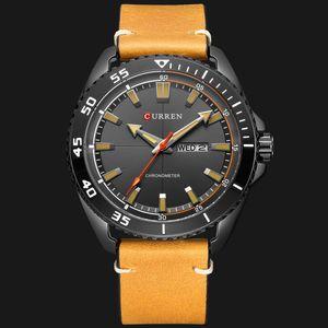 CURREN Yeni Moda Deri Kayış Erkekler Saatler Yaratıcı Dial İş Kol Hafta ve Tarih Kuvars Erkek Saat Reloj Hombre
