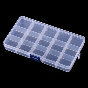 500pcs 15 Grids Transparent Adjustable Slots Jewelry Bead Organizer Box Storage plastic jewelry storage box