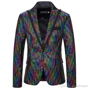 Mens Designer Night Club Blazers Mens Fashion colorido de bolinhas Impresso Casacos Casual magro dos homens Vestuário