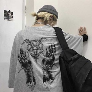NiceMix Girls Harajuku Loose Short Sleeve Women T-shirts Devil Star Hand Print Women T Shirt Crew Neck Lady T-shirt Top Tees