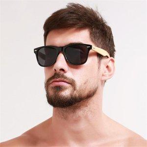 VİVİBEE En Iyi Retro erkekler gerçek Bambu siyah Unisex güneş gözlüğü Uv400 2019 klasik ahşap ahşap Kare gözlük kadınlar Için Shades