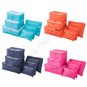 8 Colors Travel Makeup Bag 6 Pcs Set Waterproof Travel Storage Cloth Sorting Bag Set Bra Underwear Luggage Organizers Storage Bags E11304