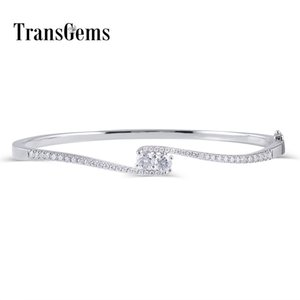 Transgems Solid 10K White Gold Moissanite Bangle Bracelets for Women Center 4MM F Color VVS Moissanite Bangle with Accents Y200620