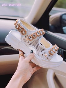 Designer riveted Sports sandals xshfbcl Luxury diamond brand male and women's leisure sandals fashion Leather outdoor beach Man Women shoes