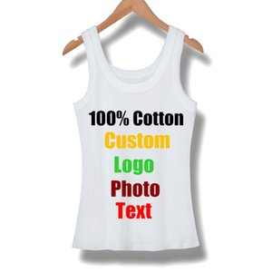 Custom Sleeveless Female Women T shirt Summer Tanks Top Cotton Elastic Girl Tees Slim Sexy Shirts T-shirt Basic Tshirt Made Logo