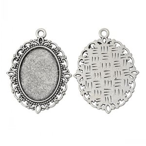 doreenbeads charm pendants oval silver color cabochon settingfit 25mm x 18mmnickel free 4cm x 3cm1 58 necklaces pendants