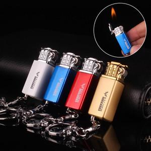 Gas Butano creativo Mini ligero inflado pendiente del metal encendedor de cigarrillos de recuerdos llaveros Llavero caliente encendedor de cigarros
