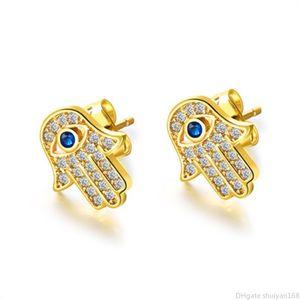 Fatima orecchini mano zircone cubico Palm Blue Evil Eye Stud orecchino per il regalo di Halloween gioielli orecchini punk delle donne del partito d'epoca