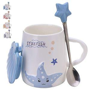 Adorable tasse à café en céramique - Ensemble de tasses à thé 14 oz avec un couvercle assorti - Grand gobelet en poterie - Lave-vaisselle Micro-ondes S