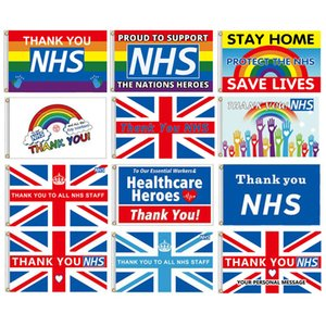 150cm*90cm Thank You NHS Flag Banner 3*5FT Polyester Custom Hanging Home Decorative