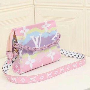 Louis Vuitton Designer textura Moda Vintage Rosa Handbag Mulheres Bandoleira Sacos Canvas bolso ombro largo Strap Crossbody Saco de renderização Gradiente Bag Estilo