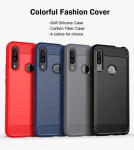 Pour Huawei Maté 30 Honor 20 20S V20 Honor 9X Pro Etui en silicone souple en fibre de carbone TPU pour Huawei P30 Lite Plus Cover