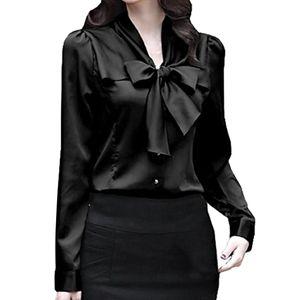2018 nueva camisa de satén de seda collar del arco de las mujeres de manga larga tapas cuerpo señora de la oficina ropa de trabajo uniforme camisa simples Blusas Mujeres sólido