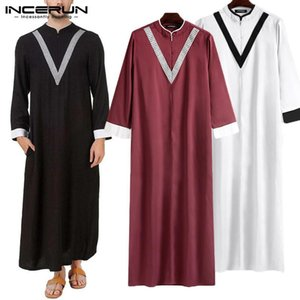 Men Islamic Jubba Thobe 2020 Long Sleeve Patchwork Robes Elegant Dubai Middle East Mens Arab Muslim Kaftan Abaya S-5XL INCERUN