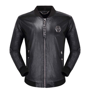 2019 Männer Lokomotive Mantel Freizeit Lederjacken Zipper beiläufige Winter Fashion Top Jacke Tier Stickerei Oberbekleidung Herrenbekleidung
