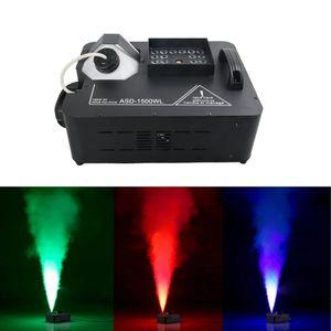 AUCD 1500W RGB LED DMX Control Color Fog Smoke Machine Máquinas de niebla remotas para Stage Light Home Party Efecto de boda ASD-1500WL