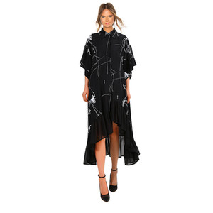 2019 Women Summer Plus Size Long Black Casual Shirt Dress Ruffle Irregular Stripes Print Ladies Party Club Dress Robe Femme F225