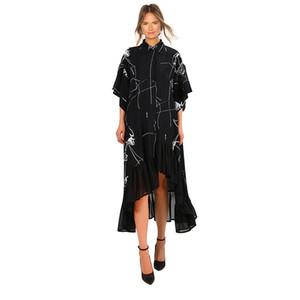 2019 Kadın Yaz Artı Boyutu Uzun Siyah Casual Gömlek Elbise Fırfır Düzensiz Stripes Baskı Bayanlar Parti Kulübü Elbise Robe Femme F225