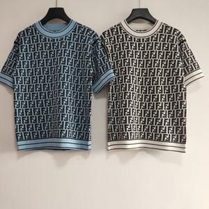 F Marca Camisetas Mulheres Luxo manga curta Wolly Shirts Marca Knitting Tees design pullover Lady Casual T-shirt LJJ1912261