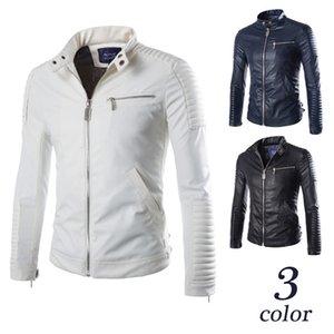 Estilo de la motocicleta de la chaqueta del collar del soporte del cuero primavera y otoño nuevo Special Craft Diseño Los hombres de cuero de la calle Montar en bicicleta blanca