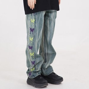2020 Pantalones Streetwear Hip Hop Hombres Vaqueros bordada de la mariposa Negro Vintage Denim Pantalones Harajuku chándal pantalones de algodón