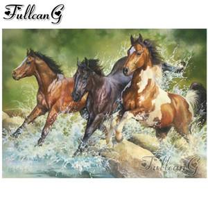 FULLCANG 5D diamante mosaico tres caballos salvajes diamante pintura animal de DIY completo bordado diamante punto de cruz decoración kit FC1819