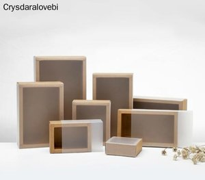 20pcs Black Kraft Paper Drawer Boxes with Frosted Sleeve Handmade Wedding Party Candy Gift Packaging Boxes