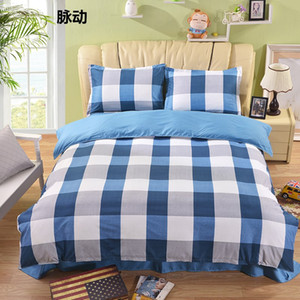 Blue Lattice Bedding Sets 3 4pcs Geometric Pattern Bed Linings Duvet Cover Bed Sheet Pillowcases Cover Set