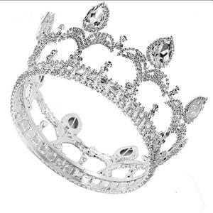 Nouveau Grand luxe européen mariée mariage Couronne magnifique cristal Grande Ronde Reine Couronne Mariage Accessoires de cheveux JCI110