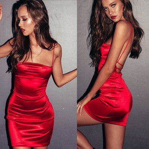 Skin Tight Women Mini Abito corto Summer sexy Bodycon Dress con scollo a V Clubwear Velluto rosa Slip Dress