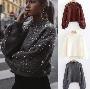 Luxury Fashion Casual inverno delle donne Pearl Maglione fatto a maglia alta qualità Chunky allentato pullover Maglieria Camicetta Camicie outwear
