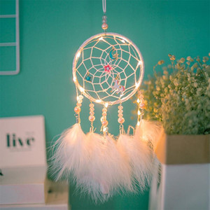 LED Dream Catcher Unicorn Dream Catcher Night Light Feather Crafts Wind Chimes Girl Bedroom Romantic Hanging Decoration Gift