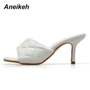 Aneikeh Fashion PU pattern PU Square head Peep Toe 8CM High Heel Slippers Summer Fashion Slip On Thin Heels Slides Women Mules c17