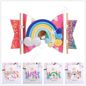 Children Mermaid Sequined Rainbow Barrettes Colorful Bowknot Hair pin Baby Girls Lovely Hair Clip With Tags Kids Hair Accessories A121905