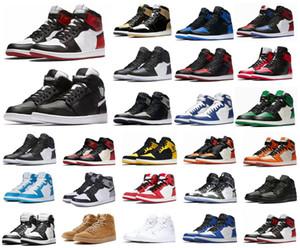Erkekler Çam Yeşil Siyah 1s Basketbol ayakkabıları Jumpman 1 Bloodline Tasarımcı Sneakers Korkusuz Obsidian UNC Patent altın siyah ayak üst Koşu Hit