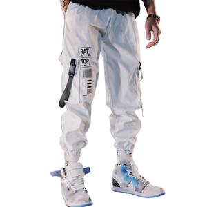 MISSKY Мужчины Брюки Белой Черный Хип-хоп штаны лента Multi-Кармана Карандаш Стильной Сыпучие Девятая Брюки Мужчина
