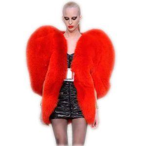 2018 Inverno novas mulheres coração pêssego capa de peles artificiais estilo longa e cabelo Tamanho Red Sexy Fur Casacos Casacos Casacos Z309