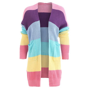 Kenancy Women Double Pocket Arcobaleno Cardigan Color Block Manica lunga Drop Patchwork Maglione lungo Casual Capispalla primaverile