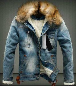 남성 디자이너 겨울 진 재킷 캐주얼 긴 소매 싱글 브레스트 재킷 겨울 두꺼운 모피 코트 씻어