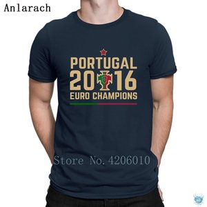 Erkekler Vintage Moda Anlarach Yaz Stil için Portekiz Euro Şampiyonlar Tişört Hip Hop Yüksek Kalite Örme T Shirt