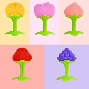 Silicón del bebé mordedor forma de la fruta goma de mascar recién nacido palo molar de dos colores en tres dimensiones pasta de dientes dentición del bebé chupete masticable