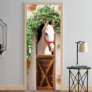 Fotoğraf Duvar Kağıdı 3D Stereo White Horse Duvar Kapı Sticker DIY Ev Dekorasyonu PVC Kendinden yapışkanlı su geçirmez Salon Yatak Odası Sticker