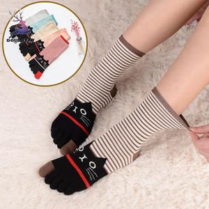 DOUDOULU 2018 5 paar Frauen Finger Zehensocken Baumwolle Odd Socken Cartoon Katze Tiere Bunte Weibliche Lustige Femme Socke # SS